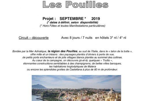 Proposition de voyages 2019